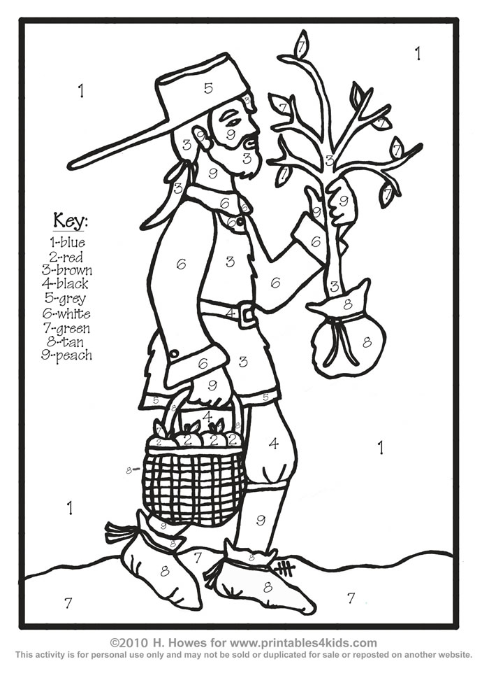 johnny apple seed Colouring Pages
